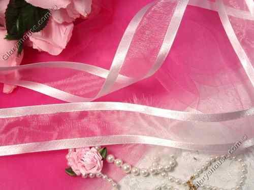 R6  White Orangza Satin Edge Craft Ribbon 1.5