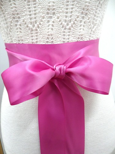 Bridal Sash Satin Ribbon One or Two Inch width Double Face Sealed or Rhinestone ends 3 or 4 Yard Length