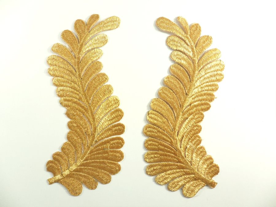 RMGB306 REDUCED Embroidered Appliques Gold Metallic Mirror Pair Iron On 7.5