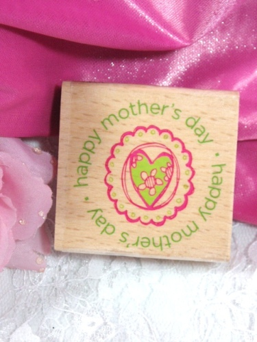 RS4  Happy Mother Day  Heart Rubber Stamp