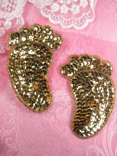SA37 REDUCED Gold Mirror Pair Appliques Sequin Beaded