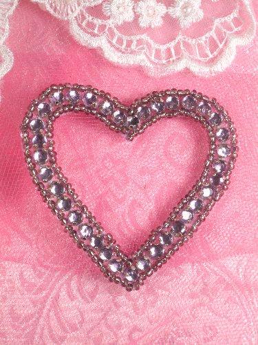 SA63 REDUCED Lavender Heart Rhinestone Applique 2.5\