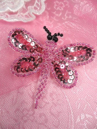 SA98  Butterfly Applique Sequin Beaded Pink 2.5\