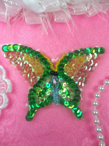 SAM15 Green Pastel Butterfly Sequin Beaded Applique 3.5\