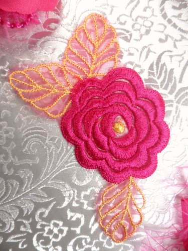 GB44 Fuchsia Flower Embroidered Applique Floral 4.25\