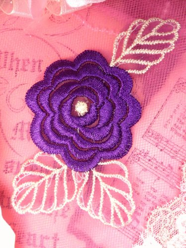 GB44 Purple Flower Embroidered Applique Floral 4.25""