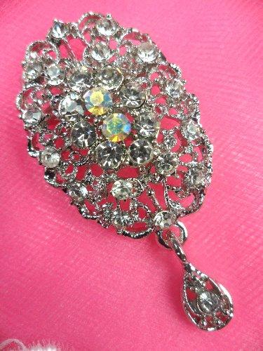 GB100 Bridal Rhinestone Brooch Pin Vintage Silver Crystal Glass Dangle 2.25
