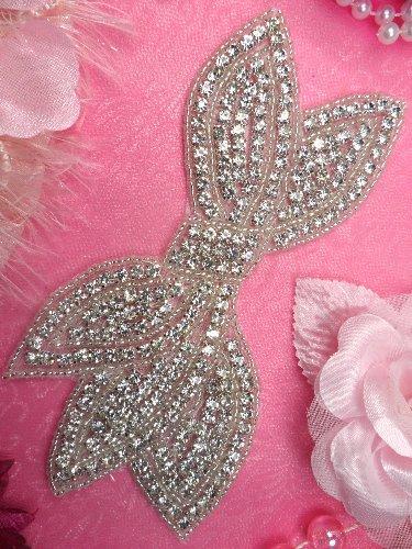 JB88 Bridal Bow Silver Beaded Crystal Rhinestone Applique 6\