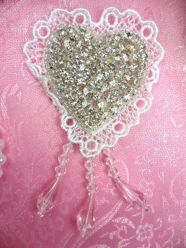 SJB9 Heart White Lace Silver Beaded Crystal Rhinestone Applique Dangles 4\