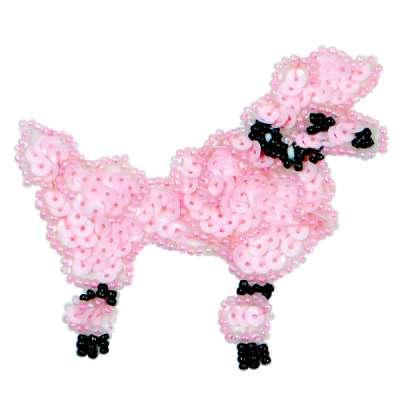 E1302 Pink Poodle Dog Beaded Sequin Applique 3.25
