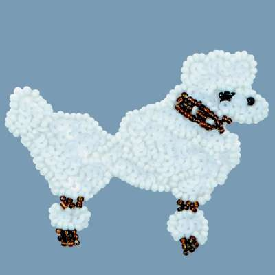 E1302 White Poodle Dog Beaded Sequin Applique 3.25
