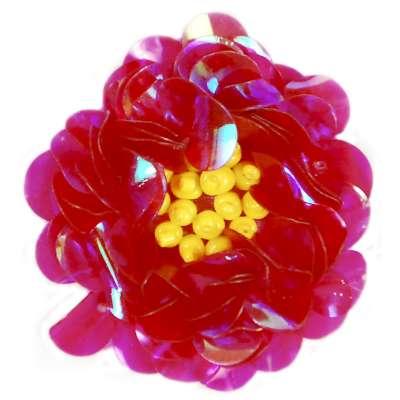 E249 Fuchsia Crystal  Floral Sequin Beaded Applique Flower  2