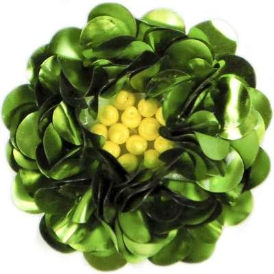 E249   Lime Floral Sequin Beaded Applique Flower  2