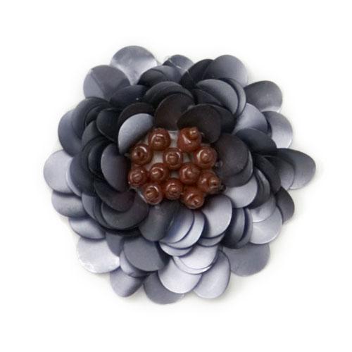 E249 Matte Gray Floral Sequin Beaded Applique 2