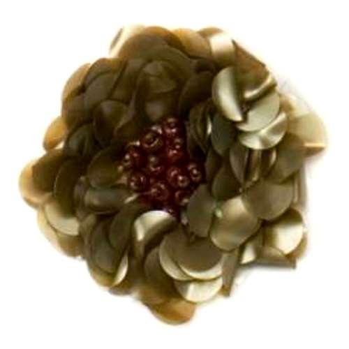 E249  Matte Olive Floral Sequin Beaded Applique Flower 2\
