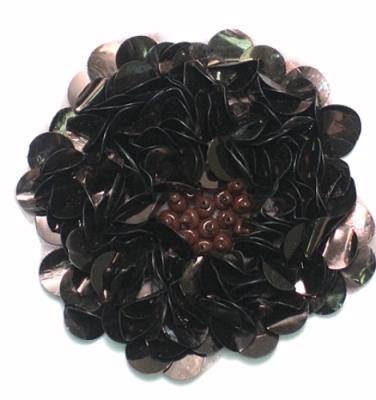 E250 Chocolate Brown Beaded Sequin Applique Flower  2.75