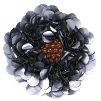 E250 Matte Gray  Beaded Sequin Applique Flower   2.75