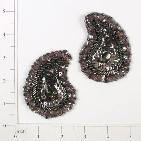 E3430  Brown Paisley Pair Sequin Beaded Appliques 3
