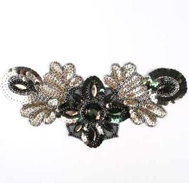 E3432  Brown Jewel Sequin Beaded Applique Collar 10