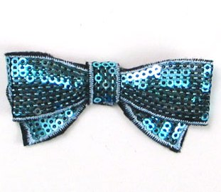 """E3440  Blue Sequin Bow  Applique 2.75"""""""