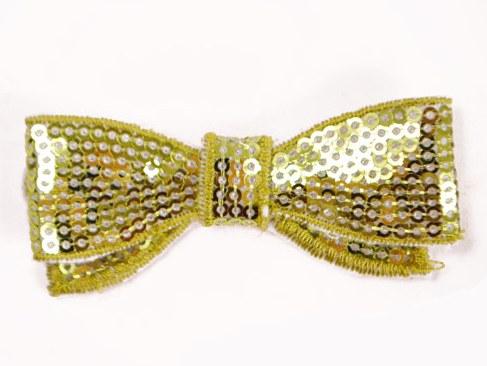 E3440 Bright Lime Sequin Bow Applique 2.75