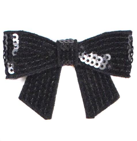 E3456   Black Sequin Bow  Applique 2.5