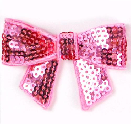 E3456  Pink Sequin Bow  Applique 2.5