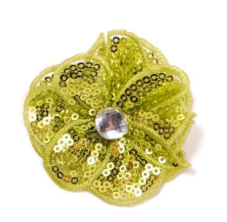 E3460  Lime Green Jewel Sequin Applique / Pin 2.5