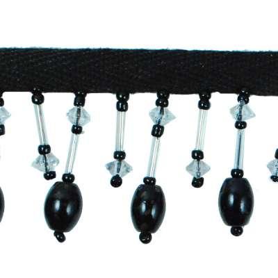 P3512 Black Onyx Beaded Fringe Trim Pre-Cut 24