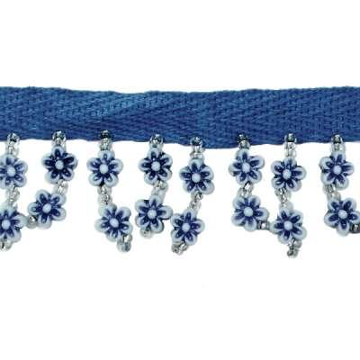 P3822 Blue White Daisy Beaded Fringe Trim Pre-Cut 18