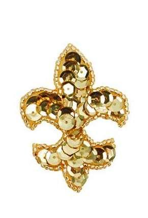 E419S  Small Gold Fleur De Leis Beaded Sequin Applique 2.25\