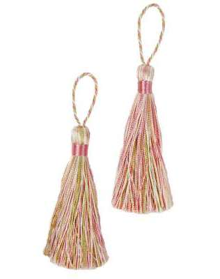 E5524  Set of Two Lime Pink & Ivory Tassels 3.75