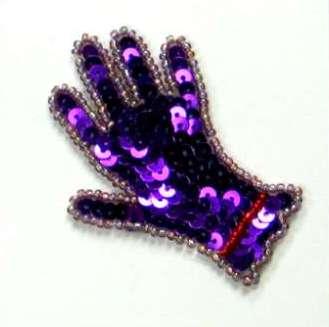Ladies Glove Sequin Beaded Applique  E5845