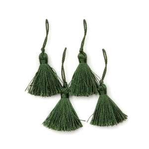 "E5970  Set of ( 4 )  Hunter Green Mini Tassels 2"""
