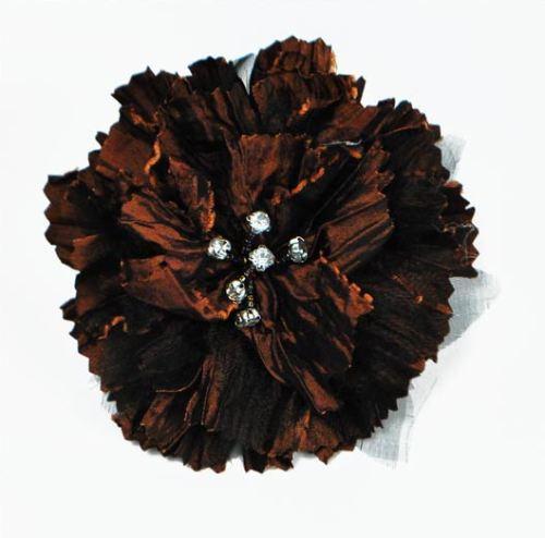 E5982  Brown Rhinestone Florantina Jeweled Brooch 4