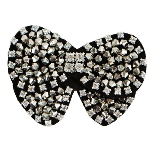 XR0002 Rhinestone and Bicone Beaded Bow Applique 3.5