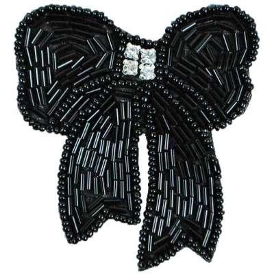 E6028  Black Beaded Rhinestone Bow Applique Pin 3\