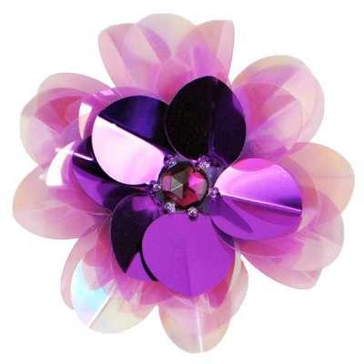 E6005 Purple Jewel Floral Sequin Beaded Applique 3.5