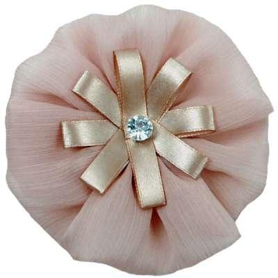 E6019 Beige Floral Brooch Clip Applique 4