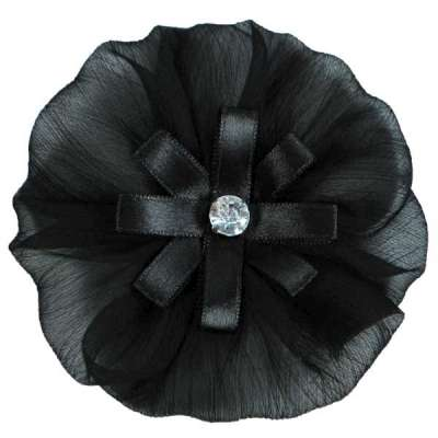 E6019 Black Floral Brooch Clip Applique 4