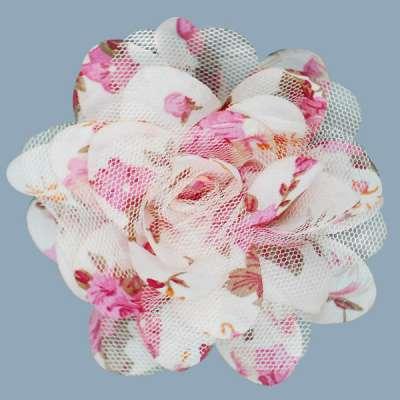 E6039 Pink Floral Brooch Clip Applique 4