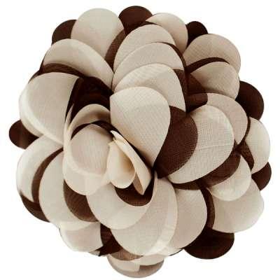 E6042 Brown Beige Floral Brooch Clip Applique 5