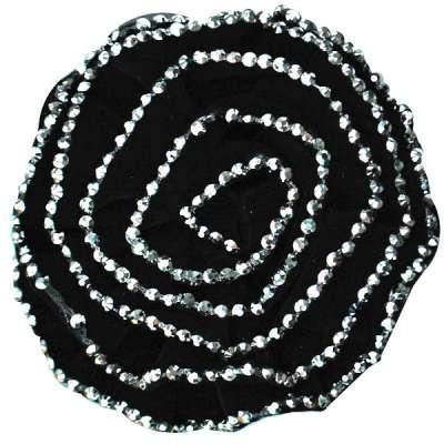 E6043 Black Silver Floral Brooch Clip Applique 5