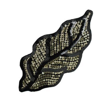 E6051 Black Gold Leaf Felt-backed Sequin Applique 7