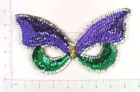 """E612 Mardi Gras Butterfly Mask Beaded Sequin Applique Masquerade 8.25"""""""