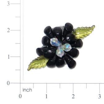 Black Gem Flower 2.5  Pin Beaded Applique E6312