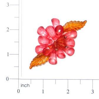 Fuschia Red Gem Flower 2.5  Pin Beaded Applique E6312