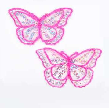 """REDUCED RME6322 Set of (2) Fuchsia Butterfly Sequin Embroidered Appliques 2.5"""""""