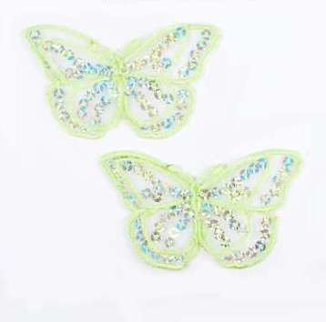 """E6322 Set of (2) Lt. Green Butterfly Sequin Embroidered Appliques 2.5"""""""