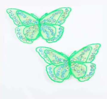 """E6322 Set of (2) Lime Butterfly Sequin Embroidered Appliques 2.5"""""""